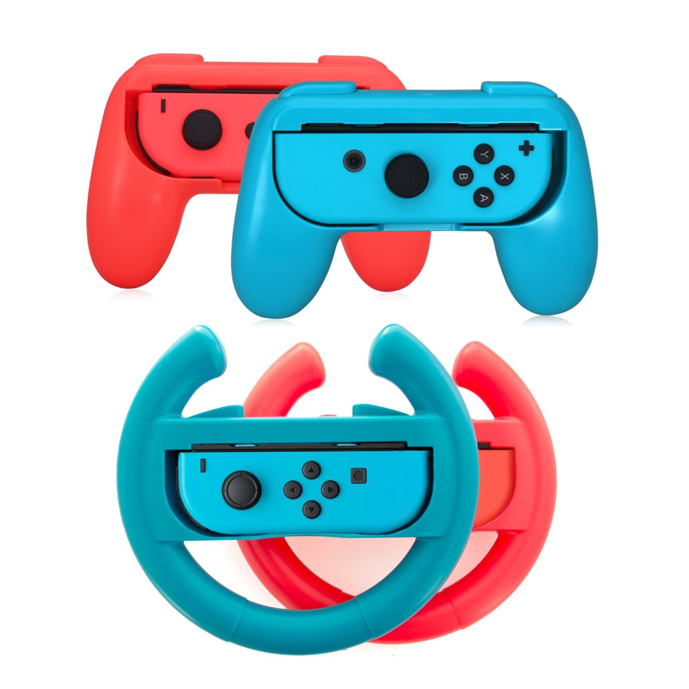 Switch Controller Joy-Con Grips for Nintendo Switch Joycon, Lammcou Two Pair Neon Blue Red Ergonomic Racing Game Steering Wheel Joy Con Grip Handle Holder for Nintendo Switch Game Mario Kart 8 Deluxe Bayonetta 2 Minecraft (4 Pack Neon Red & Blue) product image