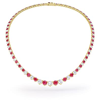 Princess Ruby and Diamond Silver Tennis Necklace (16IN to 19IN GOLD) i5d3UY1T1B