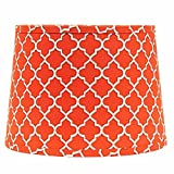 Home Collection by Raghu 4D340027 Orange, White & Grey Quatrefoil Washer Drum Lampshade, 14''