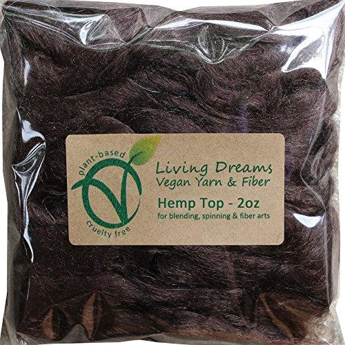 Hemp Fiber for Spinning, Blending, Felting & Fiber Arts. Natural Vegan Combed Top. Espresso by Living Dreams Yarn