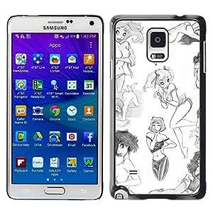 Be Good Phone Accessory // Dura Cáscara cubierta Protectora Caso Carcasa Funda de Protección para Samsung Galaxy Note 4 SM-N910 // girl fashion design sexy sketch white art