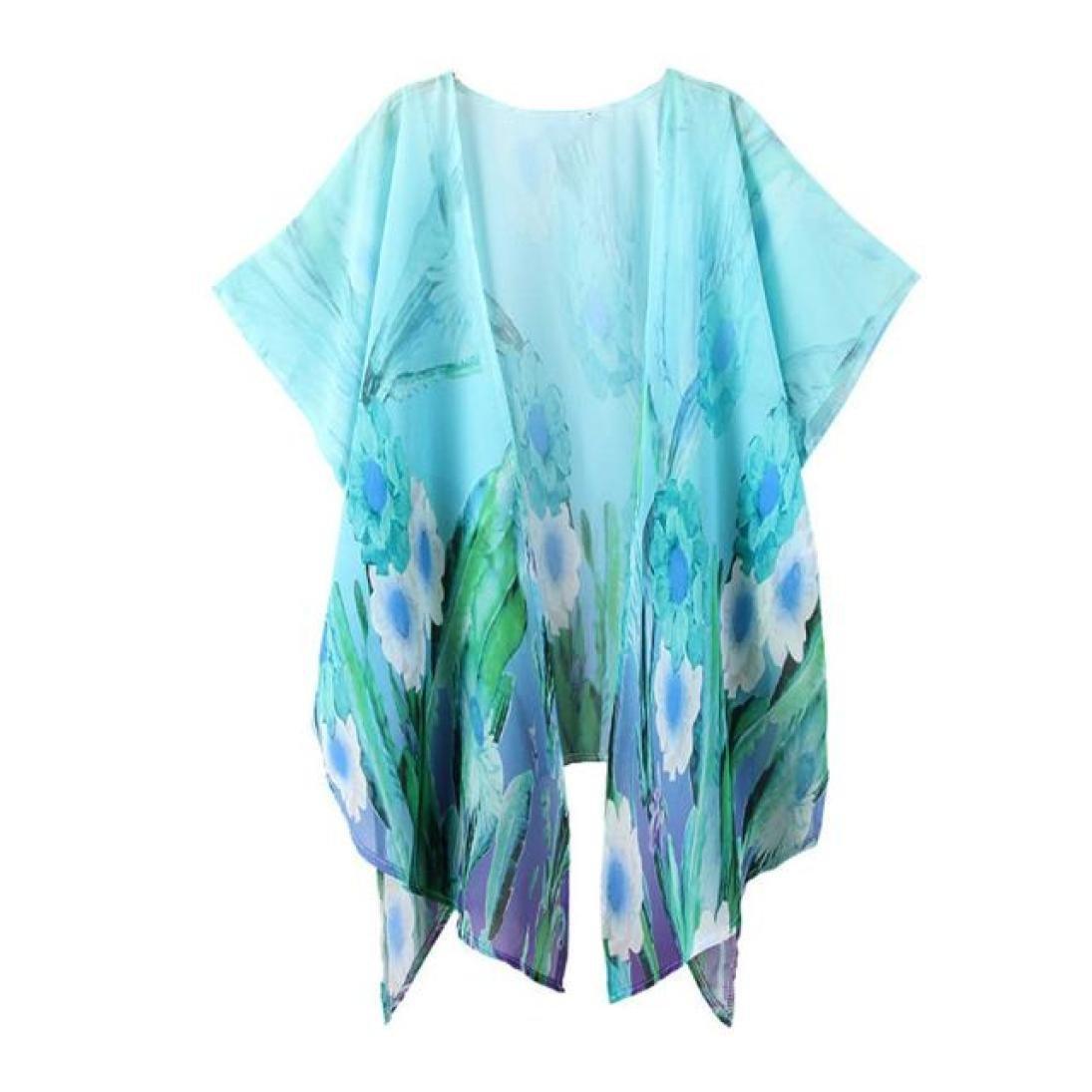 DEELIN Blusa Holgada de la Rebeca del chiffón de la Rebeca del Kimono de la impresión de Las Mujeres de la Moda del Verano (S, Azul): Amazon.es: Ropa y ...