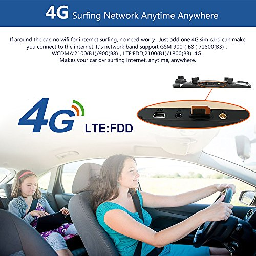 junsun 4G 7'' Dash Cam Car Camera DVR GPS Bluetooth Dual Lens Rearview Mirror Video Recorder Full HD 1080P Automobile DVR Mirror by junsun (Image #3)
