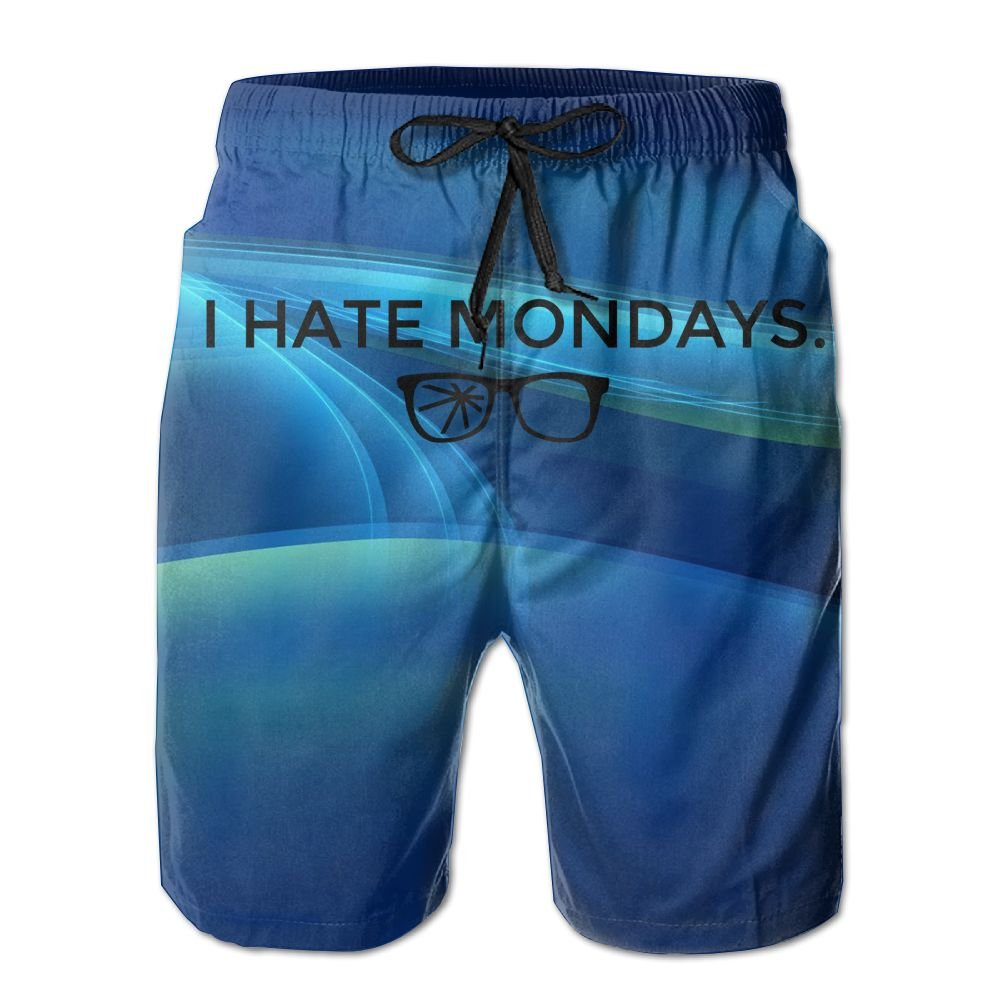 Helidoud I Hate Mondays Mens Athletic Classic Summer Shorts Casual Swim Shorts with Pockets