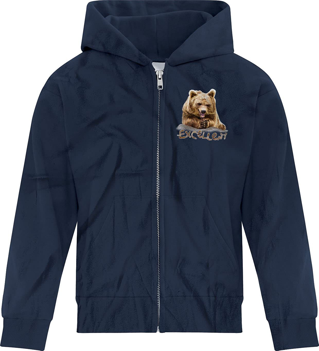 BSW Youth Boys Excellent Grizzly Bear Steeping Fingers Mr Burns Zip Hoodie