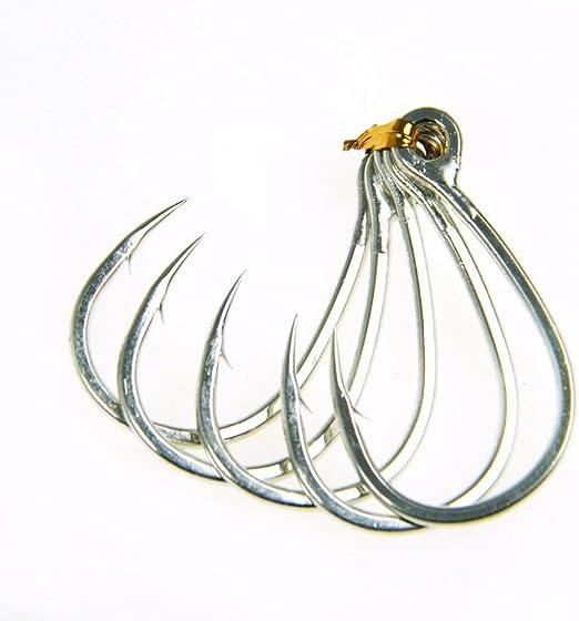 LMEIQUN, 10 unids/Pack Anzuelo Gran Anzuelo Ganchos de Ojo Agua de Mar Ganchos de Pesca de Mar Anzuelo 9986# 4/0# 3/0 Sharp Crank Hook Jigging Fishing (Color : 10pcs 9986 4i0): Amazon.es: Hogar