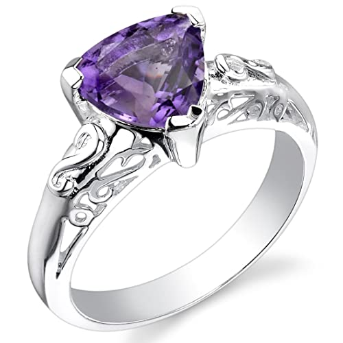 1.50 carats Trillion Cut Amethyst Ring in Sterling Silver Rhodium Nickel Finish Sizes 5 to 9
