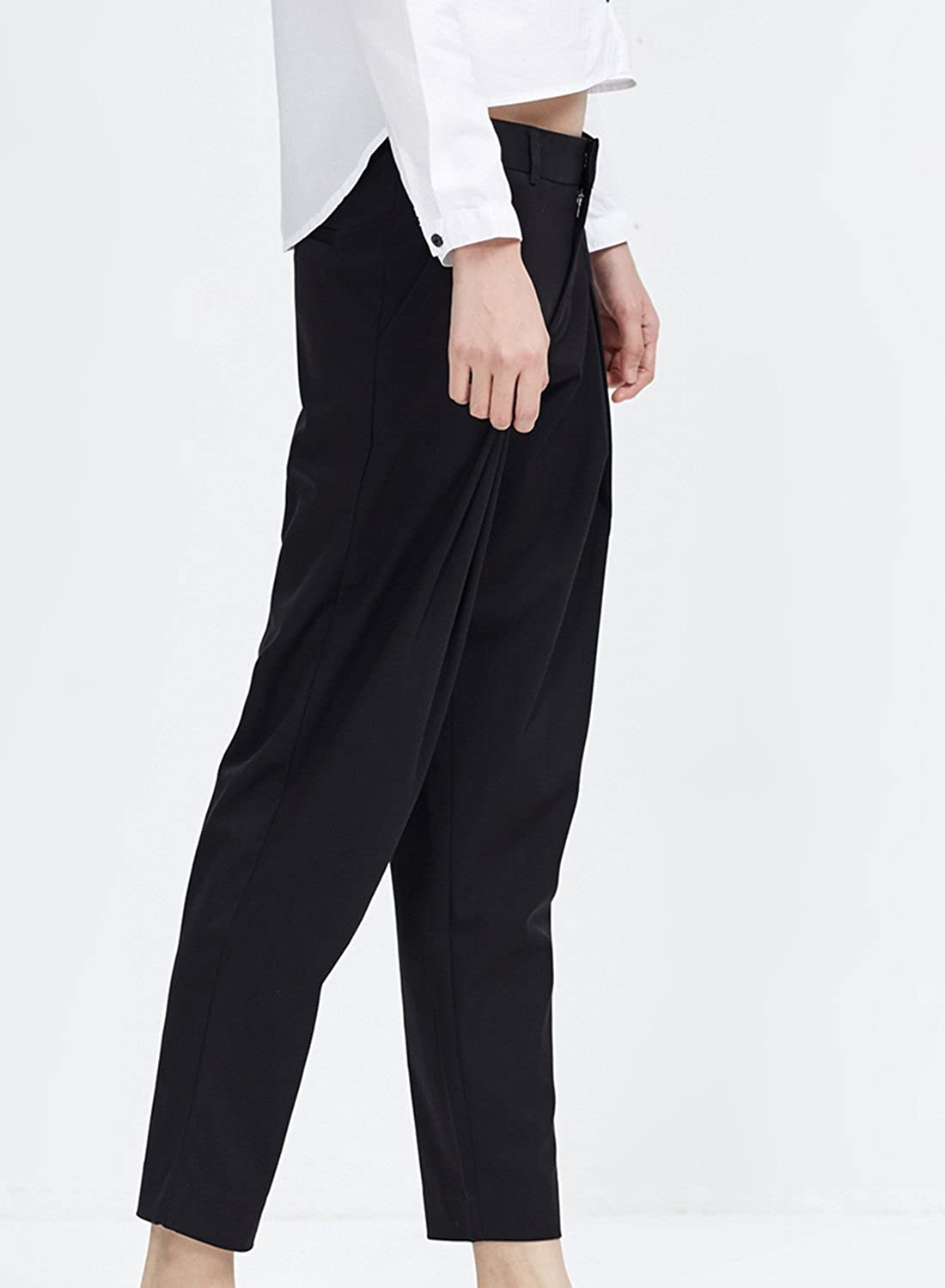 Meters/bonwe Women's Casual Solid Color Pleated Ninth Pants