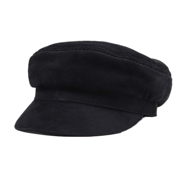 Genuine Leather Cap Men Newsboy Military Hats Vintage Women Gatsby Classic Flat Hats Luxury,Black,L 55-56 cm