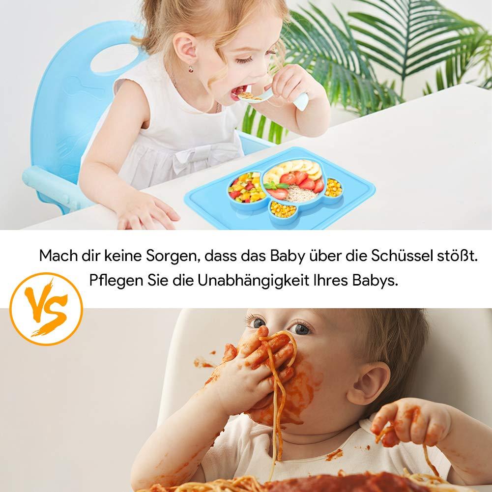 Rutschfest Silikon Tischset mit Saugnapf Rutschfester Babyteller f/ür Sp/ülmaschine//Mikrowelle Telgoner Baby Teller BPA-frei Kinderteller f/ür Kinder