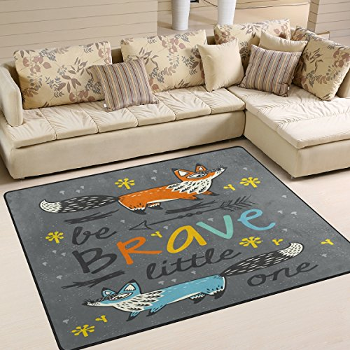 ALAZA Snowflake Arrow Fox Be Brave Quotes Area Rug Rugs for Living Room Bedroom 7' x 5' ()