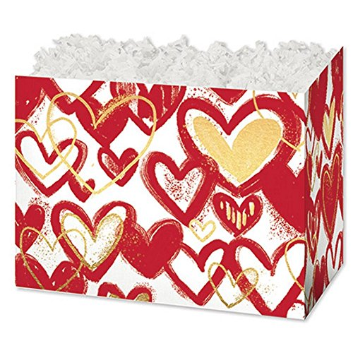 Small Hearts Of Gold Basket Boxes - 6.75 x 4 x 5in. - 30 Pack by NW