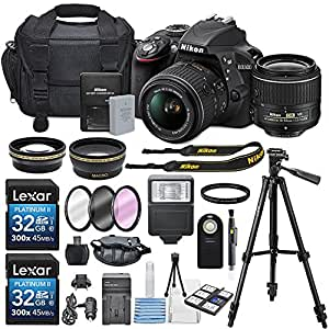 Nikon D3300 24.2MP CMOS Digital SLR Camera with AF-S DX NIKKOR 18-55mm f/3.5-5.6G VR II Lens, HD 52mm Wide Angle Lens, HD 52mm Telephoto Lens, 32GB Class10 SDHC and Accessory Kit, Black