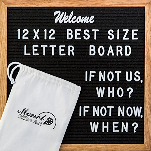 Monet Office Art Large Black Felt Letter Board 12x12 By Letterboard With Strong Oak Wood Frame   Comes With 300 Changeable White Letters And 173 Pink Characters, Numbers, Punctuation And Emoji Metal Tile Letter Holder