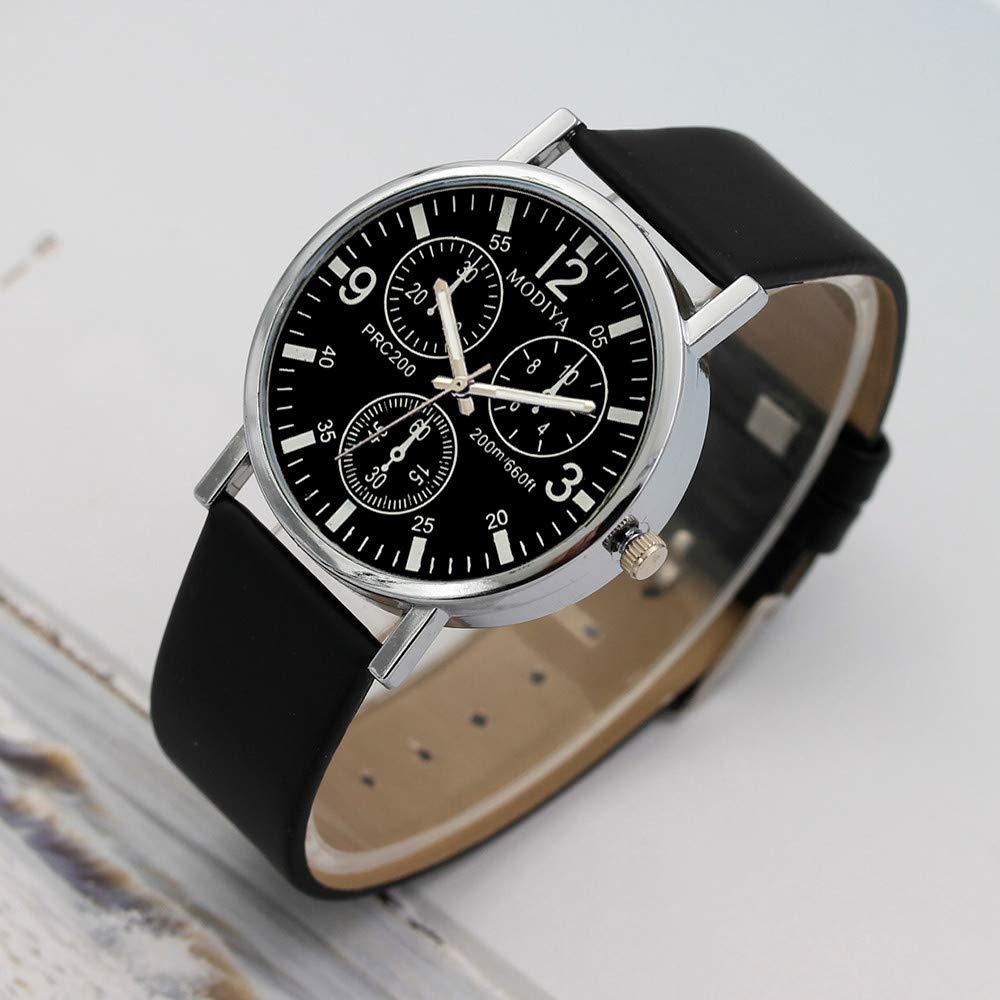 Beisoug Los Mejores Relojes de Tres Ojos Relojes de Cuarzo Reloj de cinturón Azul de Cristal para Hombres: Amazon.es: Hogar