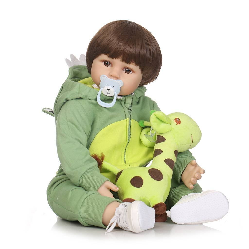 NiceryシミュレーションRebornベビー人形ソフトSilicone 22インチ55 cmビニール磁気口Lifelike Vivid Boy Girl Toy Green Dinosaur Clothes rd55 C267 W B07CPZ88S1
