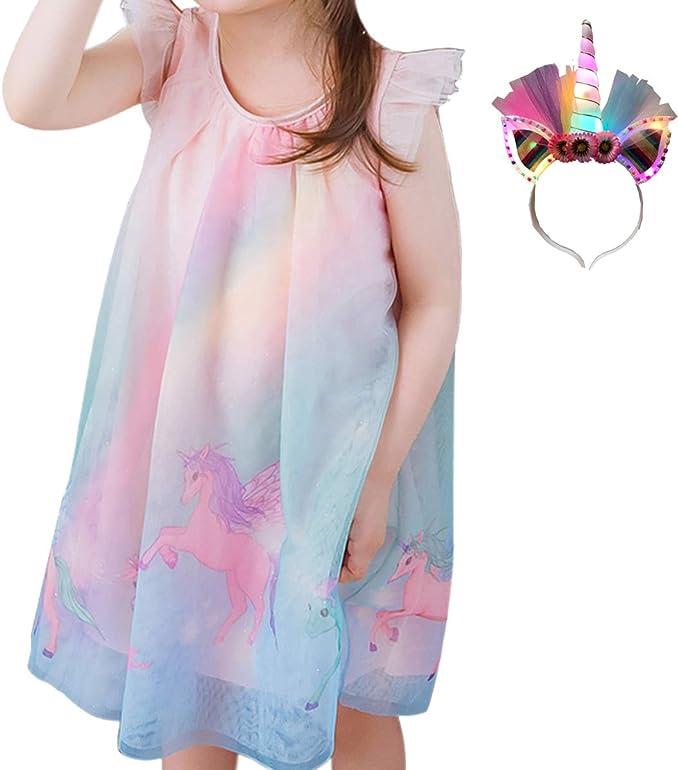 Amazon.com: Unicorn Vestido de verano para niñas fiesta de ...