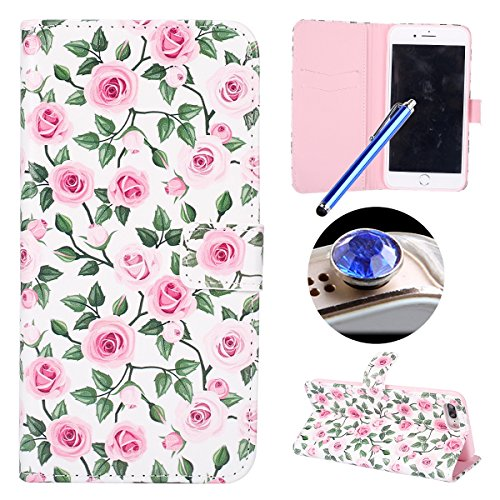 Funda para [iPhone 7 Plus] ,ETSUE PU Cuero Cover Case para iPhone 7 Plus,Funda de Cuero Pintado de Moda Patrón con la Mariposa Protector de Funda para telefono movil para iPhone 7 Plus + 1 x Blue Styl romántico Rosa