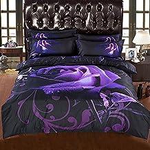 Alicemall Flower 3D Bedding Set Full Size Amazing Big Purple Rose with Dewdrop 5-Piece Polyester Black Comforter Sets, Floral Bedding Bedroom Comforter Set Duvet Cover Sets (Full)