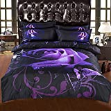 Alicemall Purple Bedding Set Full Size Rayon Big Blooming Purple Rose with Dewdrop Black Print 6-Piece Duvet Cover Sets, Cool Floral Bedding Set Quilt Cover Set, No Comforter (Full)