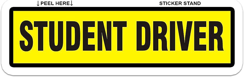 Vinyl Die-Cut Peel N/' Stick Decals Learner New Driver STUDENT DRIVER