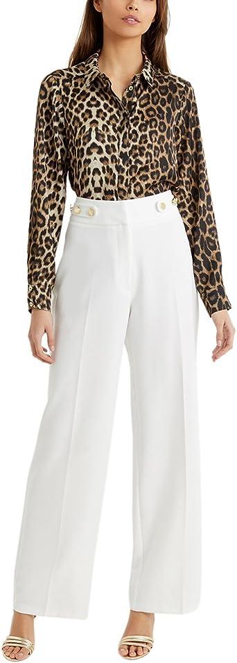 Lipsy Mujer Camisa Satén Mangas Largas Puños Leopardo Marrón ...