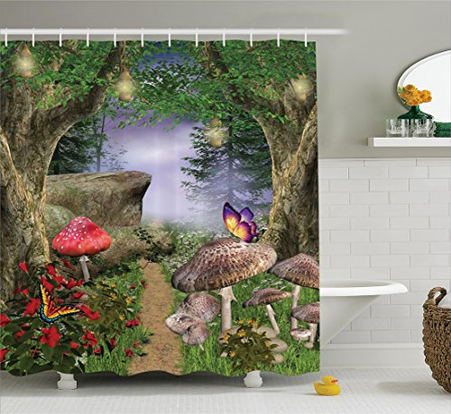 Mushroom Decor Collection by Ambesonne, Enchanted Nature Pathway Butterflies Fairytale Landscape Rocks Street Design, Polyester Fabric Bathroom Decor Set, 84 Inches Extra Long, Beige Green Red Lilac 20 X 65 Tree