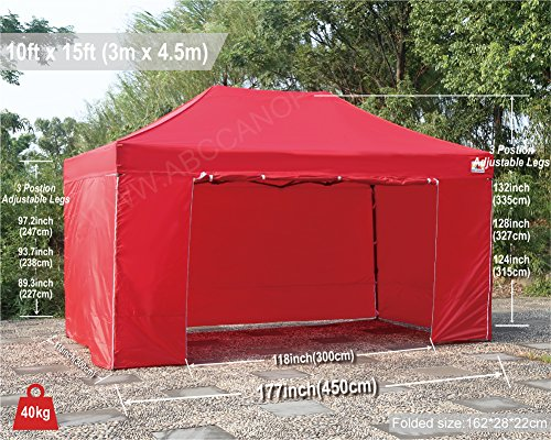 ABCCANOPY 18+ colors Deluxe 10x15 Pop up Canopy Outdoor Party Tent Commercial Gazebo with Enclosure Walls and Wheeled Carry Bag Bonus 4x Weight Bag and 2x Half Walls (red)