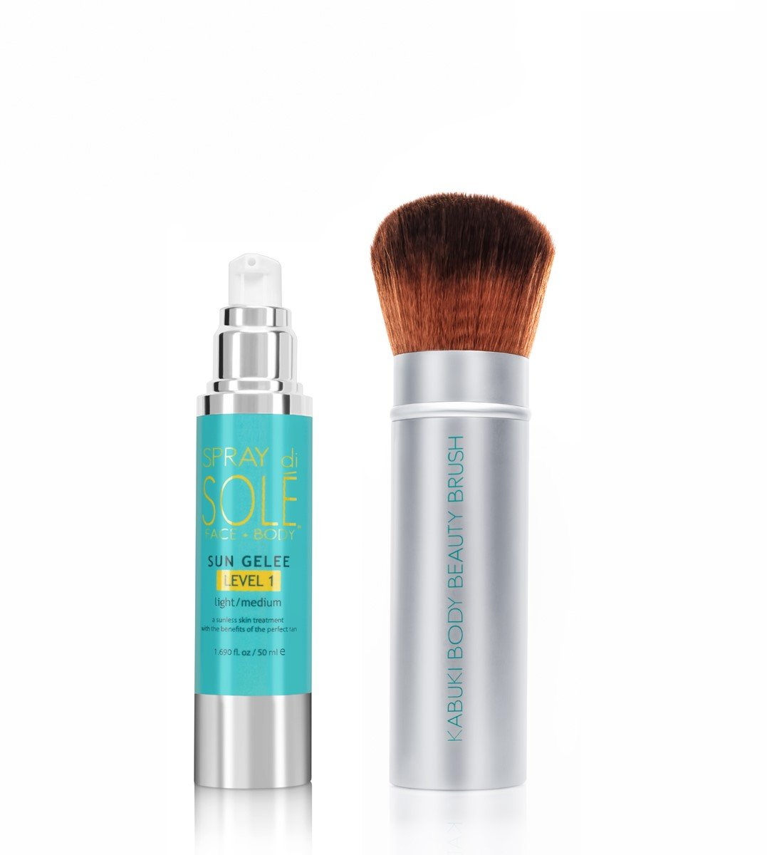 Spray Di Sole Sun Gelee with Kabuki Body Brush - Organic and Natural Ingredients Sunless Self Tanning Lotion for a Golden Buildable Light, Medium and Dark Gradual Tan for Face and Body