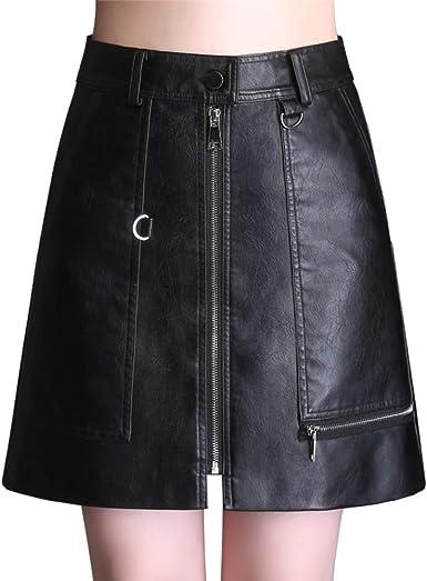 E-Girl ED618 - Falda de Piel sintética con Cremallera para Mujer ...