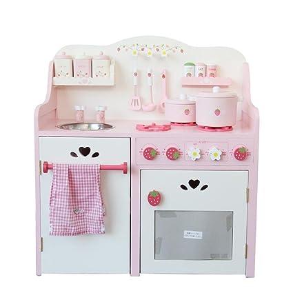 Amazon.com: Binglinghua Pink Strawberry Kids Wood Kitchen ...