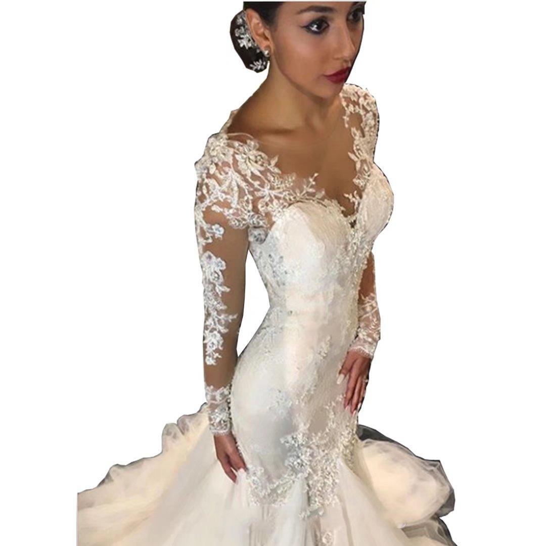 Chady Elegant Lace Mermaid Wedding Dresses For Bride 2018 Long