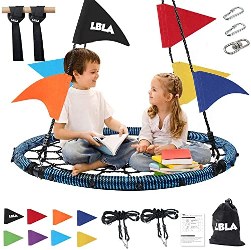 40 Inch Indoor Outdoor Giant Spider Web Swings,Round Mat Swing with Hanging Strap Kit,Adjustable Hanging Ropes,360 Rotatable Carabiner,8 Bonus Colored Flags, Easy Install, Gift for Kids,or Adult Blue
