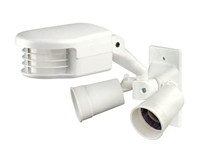 Leviton RS110 - 1 FW 500 W, Incandescente, 110 Degree, 2500 Square Feet coverage, PIR Outdoor Occupancy Sensor with Dual floodlights, White by Leviton: ...