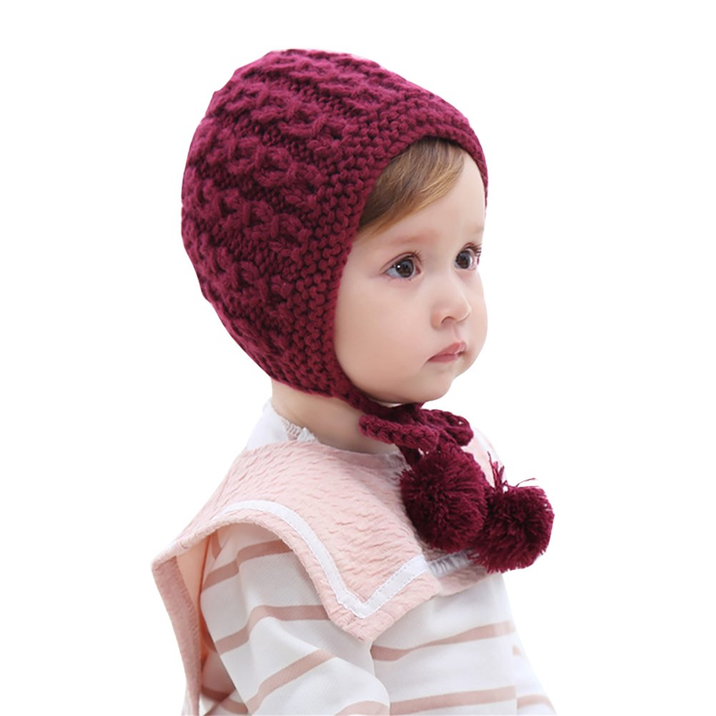 Fmeida Winter Warm Knitted Hat Cute Bonnet Cap for 0-3 Years Old Baby Girls