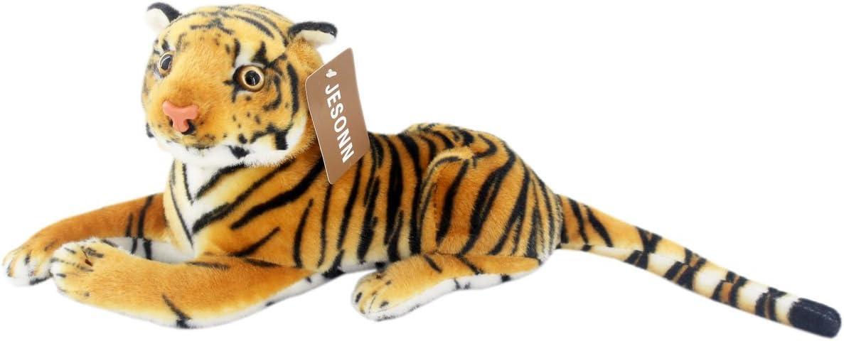 JESONN Realistic Stuffed Animals Tiger Toys Plush (Brown, 12 Inch)