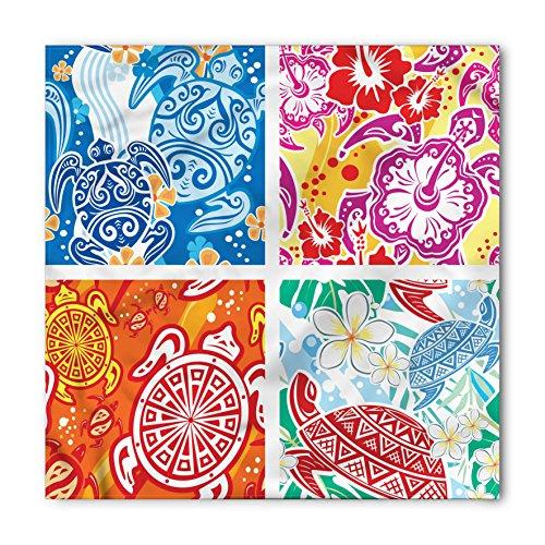 Turtle Bandana by Lunarable, Colorful Abstract Designs with Hawaiian Elements Hibiscus Marine Reptiles Flowers, Printed Unisex Bandana Head and Neck Tie Scarf Headband, 22 X 22 Inches, (Hawaiian Bandana)