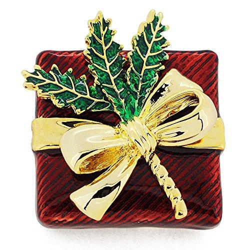 Fantasyard Large Red Giftbox Golden Bow Pin Brooch