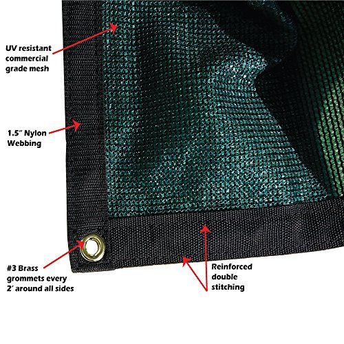 Xtarps – 6 ft. x 8 ft. – 7 OZ Premium 90 Shade Cloth, Shade Sail, Sun Shade Green Color