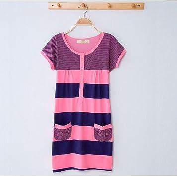 Pijamas de Verano camisón Mujer Verano algodón Coreano sección Fina Vestido Fresco algodón de Manga Corta Falda Sexy GAOLILI (Color, Tamaño : XL): Amazon.es: Deportes y aire libre