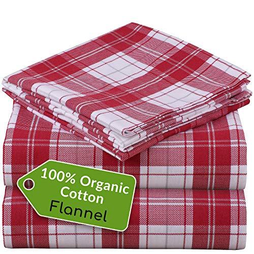 Mellanni 100% Organic Cotton Flannel Sheet Set – Heavyweight 180GSM 3 pc Luxury Bed Sheets – Cozy, Soft, Warm…