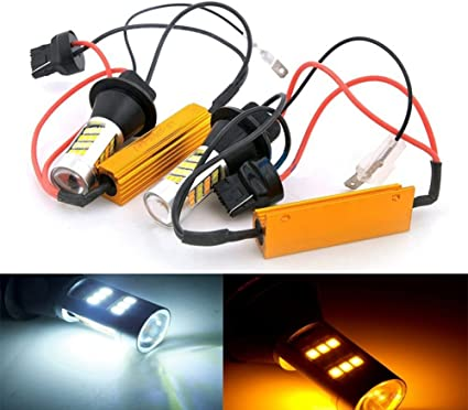 2x 1157 Dual Color Switchback 2835 White//Amber 42LED Turn Signals+Resistor