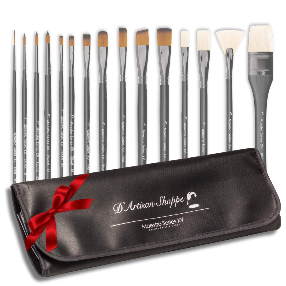 Artist Paint Brush Set Professional 15pc Best Art Supplies Paintbrushes for Acrylic Watercolor Oil Gouache Paint with Free Carrying Case by D'Artisan Shoppe