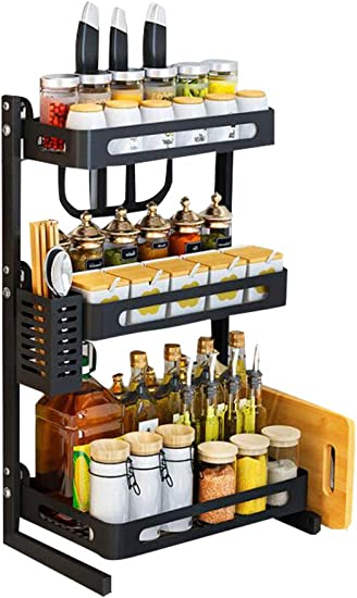 Old DIrd 3 Tier Kitchen Spice Rack,Multifunctional Seasoning Storage Shelf,Kitchen Counter Storage and Organizer for Jars, Bottles, etc, Includes Knife, Cutlery, Chopping Board Storage with 3 Hooks