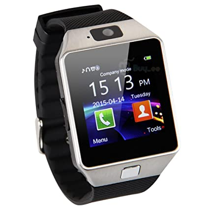 SQA Dz09 Bluetooth Smart Watch with Camera for Iphone and Android Smartphones (Silver)