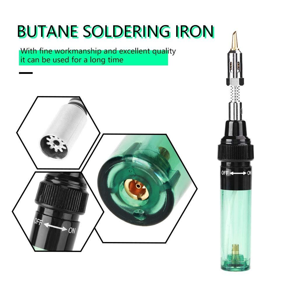 Soldador de gas Verde soldador de soplete de gas butano inal/ámbrico Soldador de pl/ástico y metal