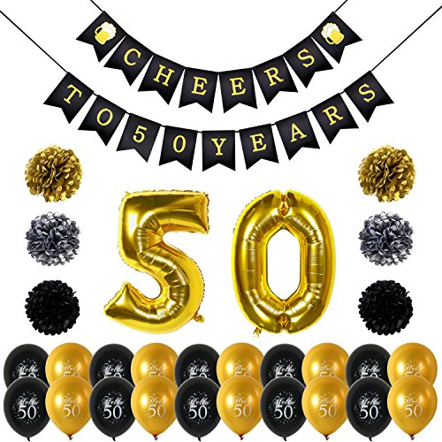 Konsait 50th Birthday Party Decorations, Cheers to 50th Birthday Banner, Number 50 Foil Balloons Large, 20pcs Black Gold Latex Hello 50 Balloon, Tissue Paper Pom Poms for 50 Years Old (50 Party Ideas)