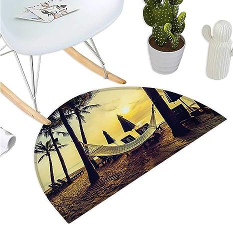 Amazon.com: Cojín semicircular para playa, diseño de hojas ...