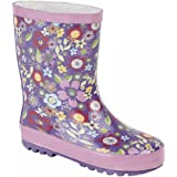 Stormwell Girls Mauve/Dark Pink Floral Print Short Wellington Boots / Wellies UK 6.0 - 1.0 Junior
