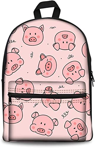 Bigcardesigns Cute Pig Print Large Capacity Canvas Backpack Women Girls Casual Multi-pocket Daypack,Durable Lightweight Daily Pack Pink 15.6 inch